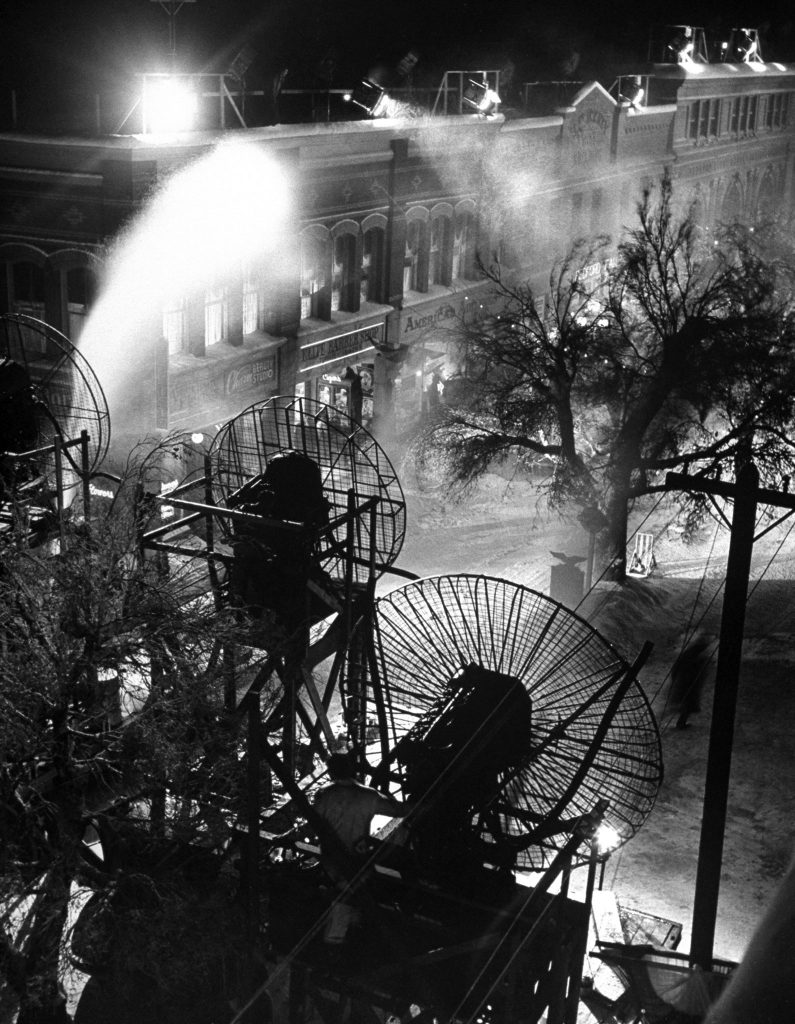 Making artificial snow on the set of 'It's a Wonderful Life.'