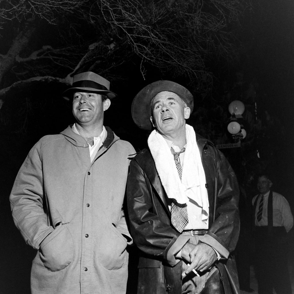 Director Frank Capra (right, with unidentified man) on the set of 'It's a Wonderful Life.'