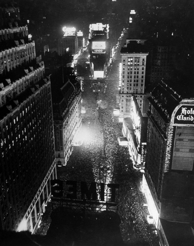 Times Square in New York City at midnight on New Year's Eve, as 1941 becomes 1942.