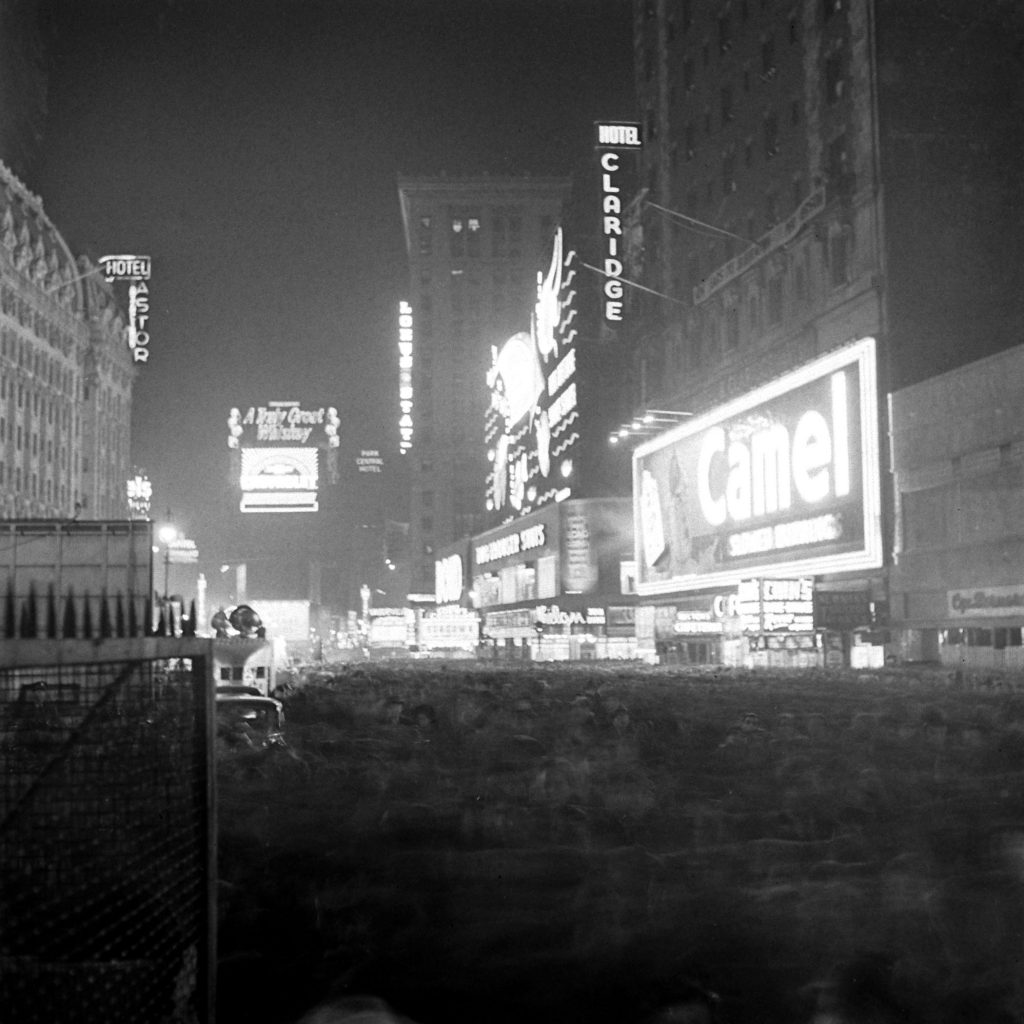 Times Square in New York City on New Year's Eve, as 1941 turns to 1942.