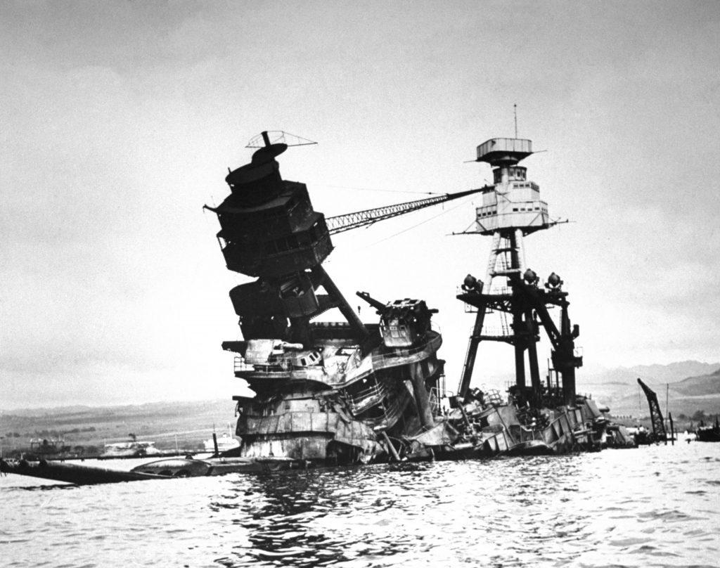 The exposed wreckage of the battleship USS Arizona.