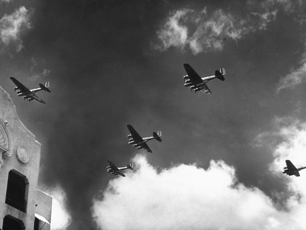 American bombers fly over Hawaii, December 1941.