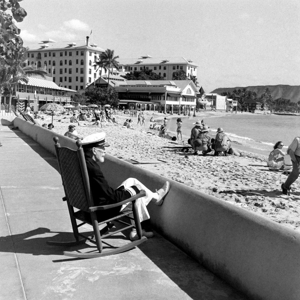 "Vice Admiral Joseph ""Bull"" Reeves, Waikiki Beach , December 1941."