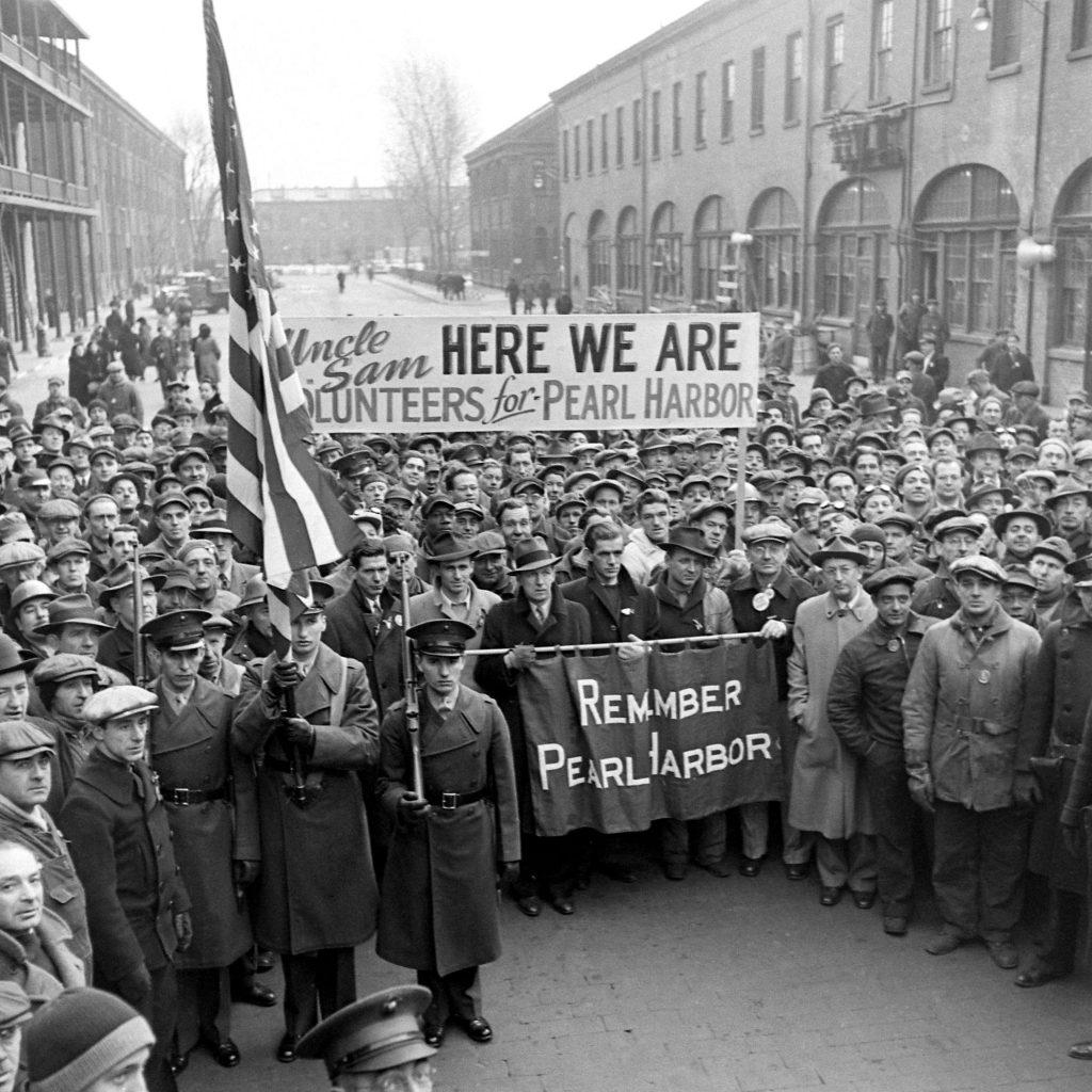 A rally at the Brooklyn Navy Yard, December 1941.
