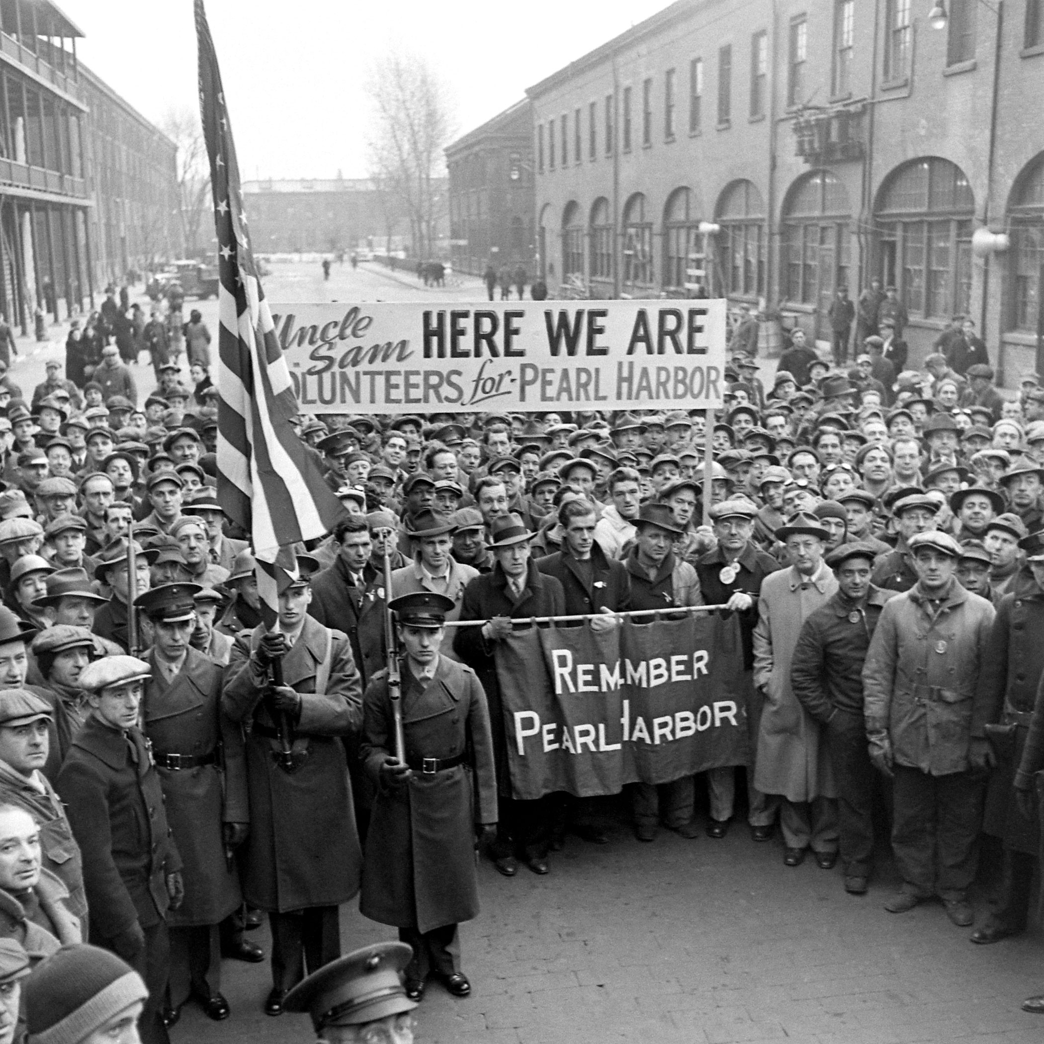 A rally at the Brooklyn Navy Yard, December 1941.