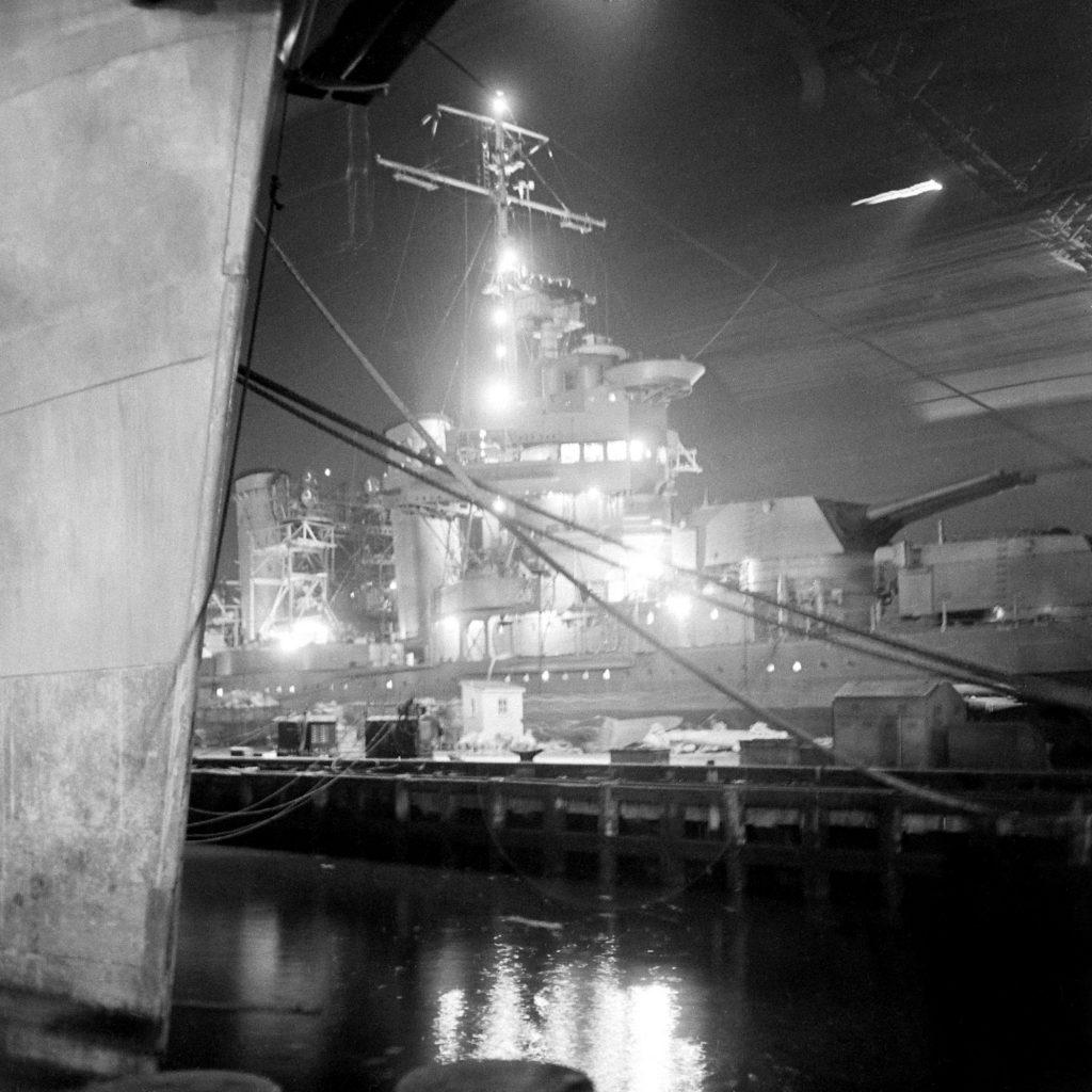 The Brooklyn Navy Yard by night, 1941.