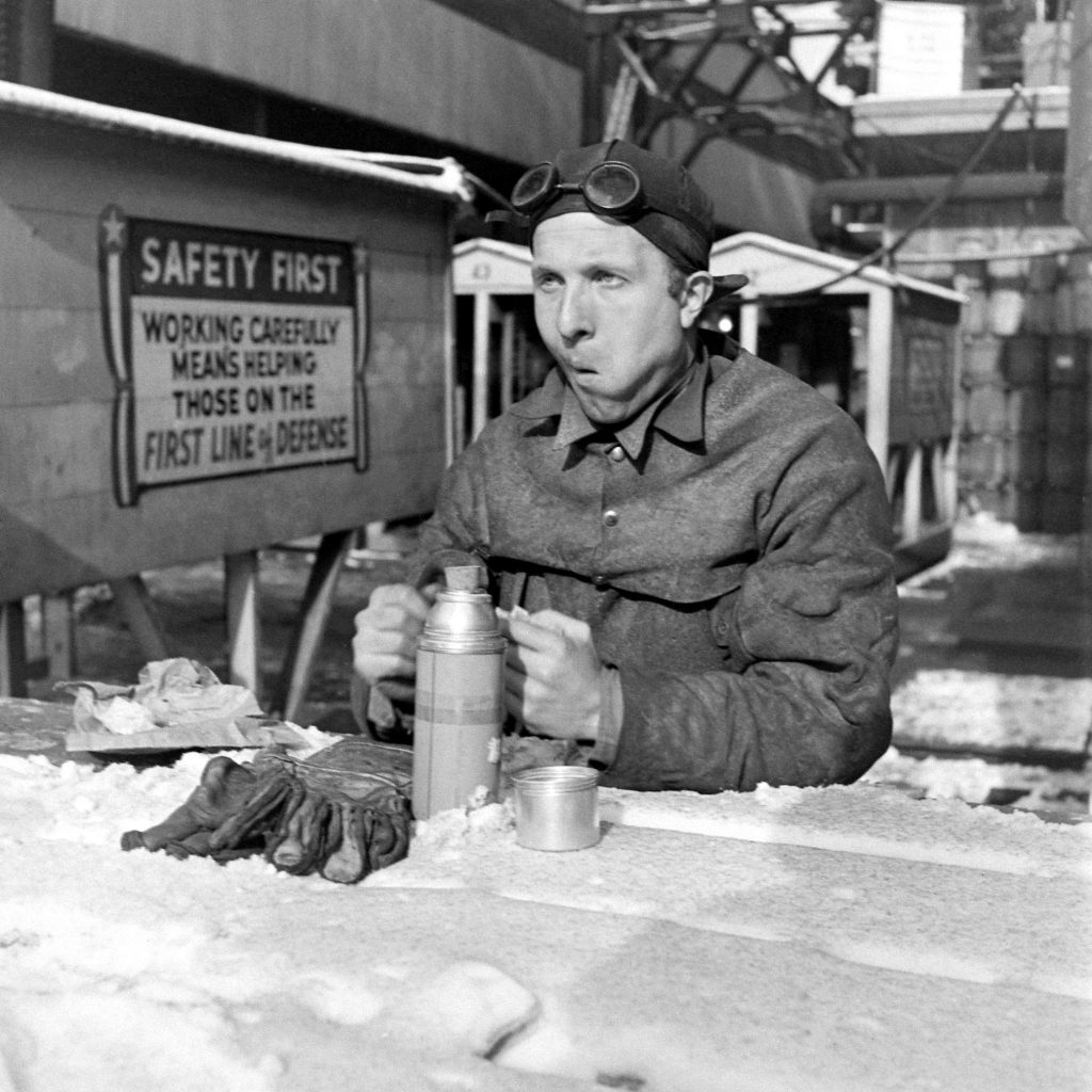 A worker on break at the Brooklyn Navy Yard.