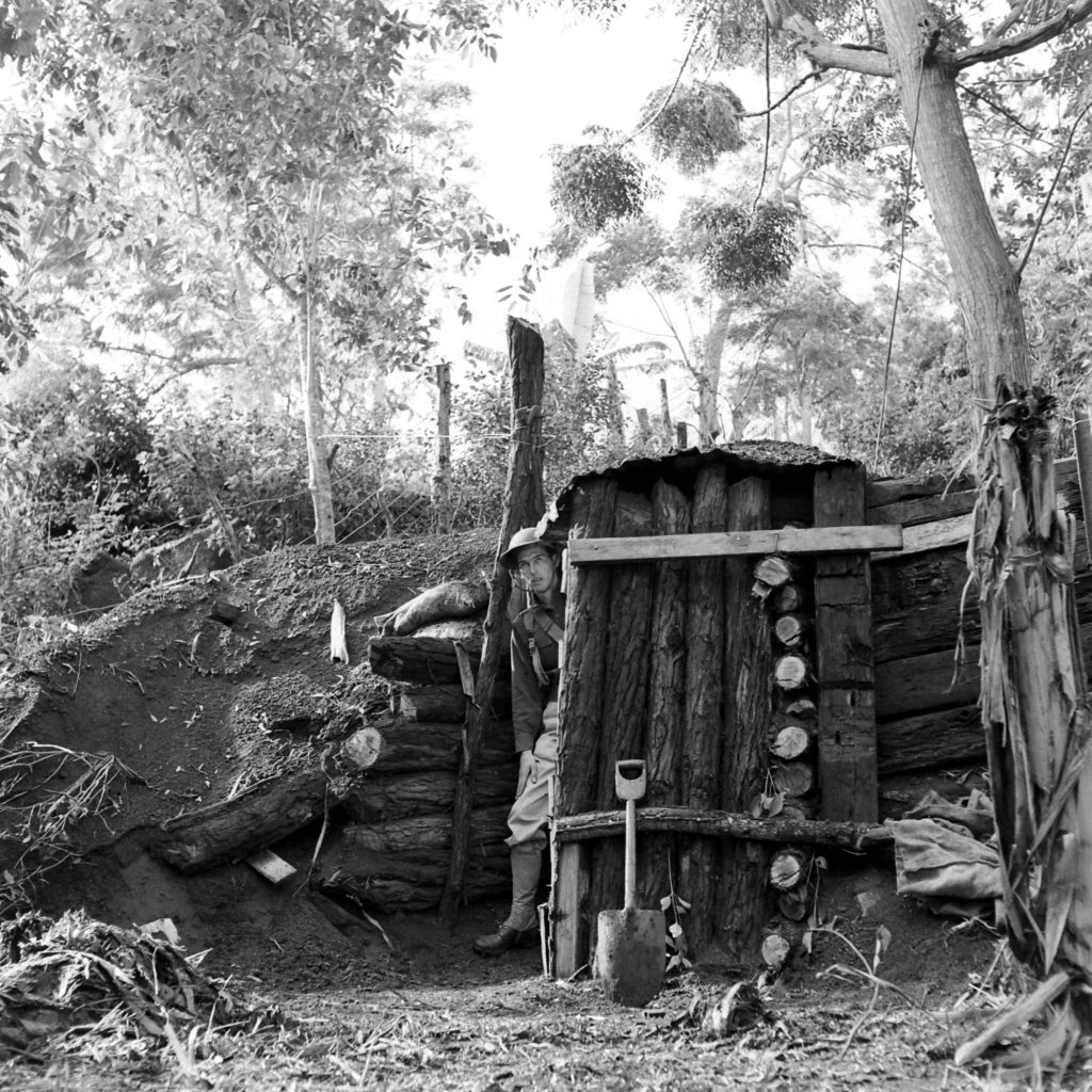 A hastily constructed defense bunker, early 1942.
