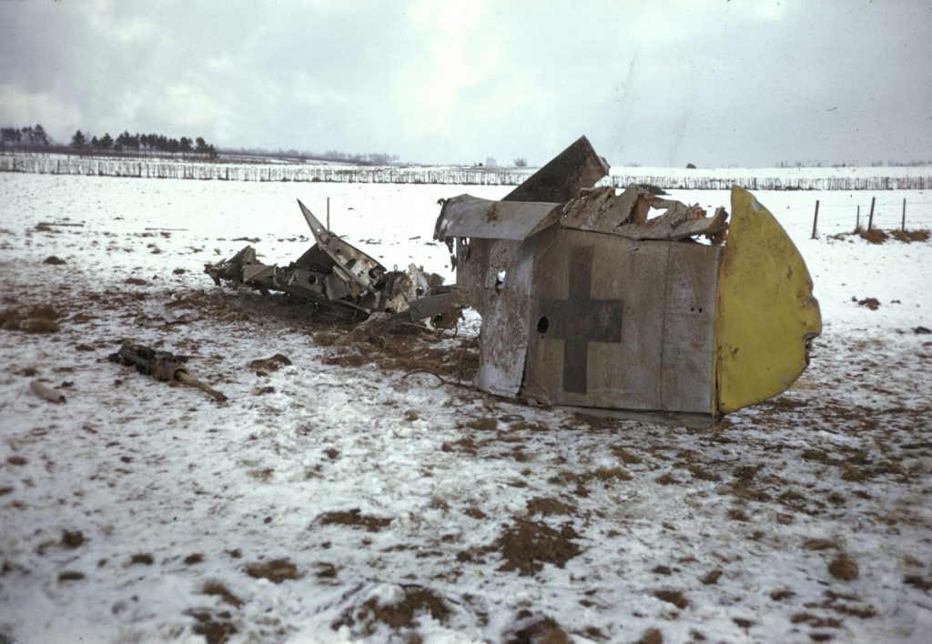 German military wreckage, Battle of the Bulge.