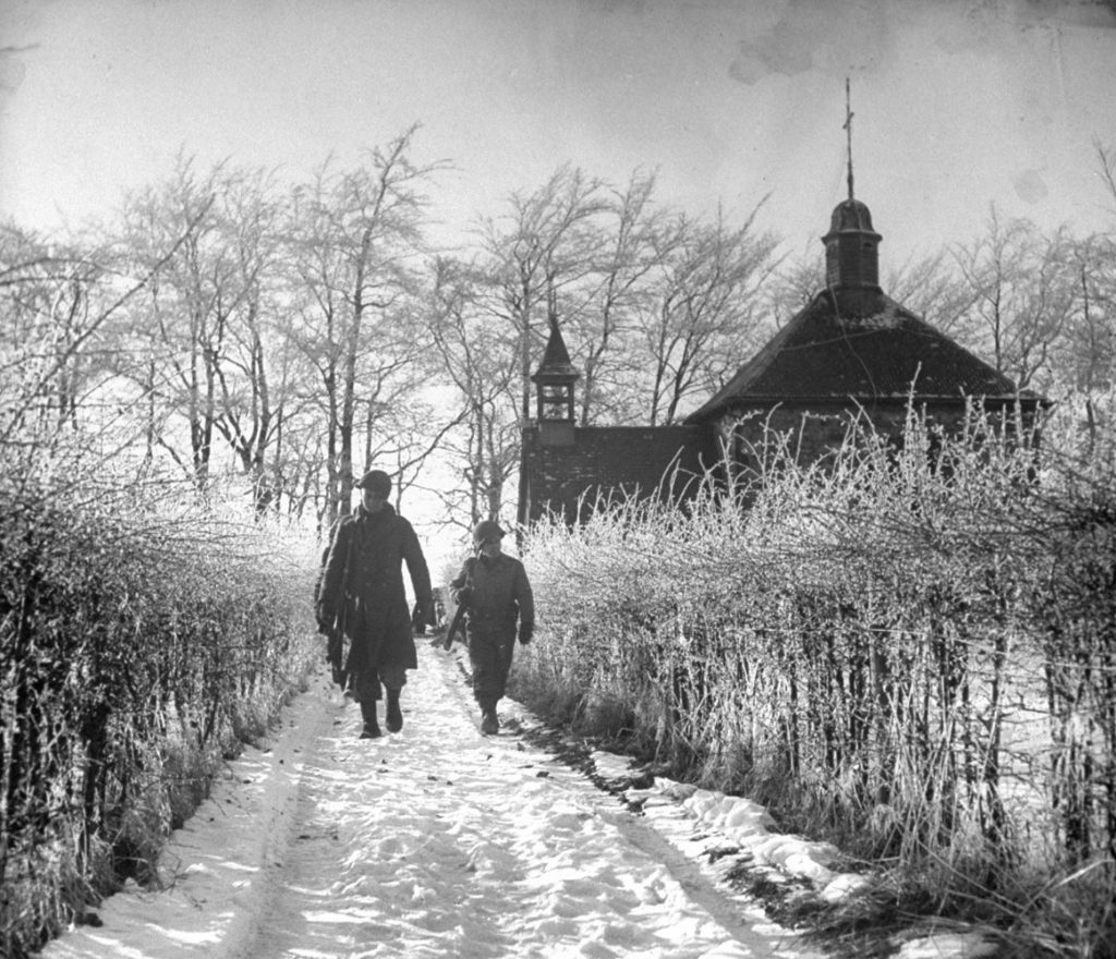 American troops in Belgium during the Battle of the Bulge.