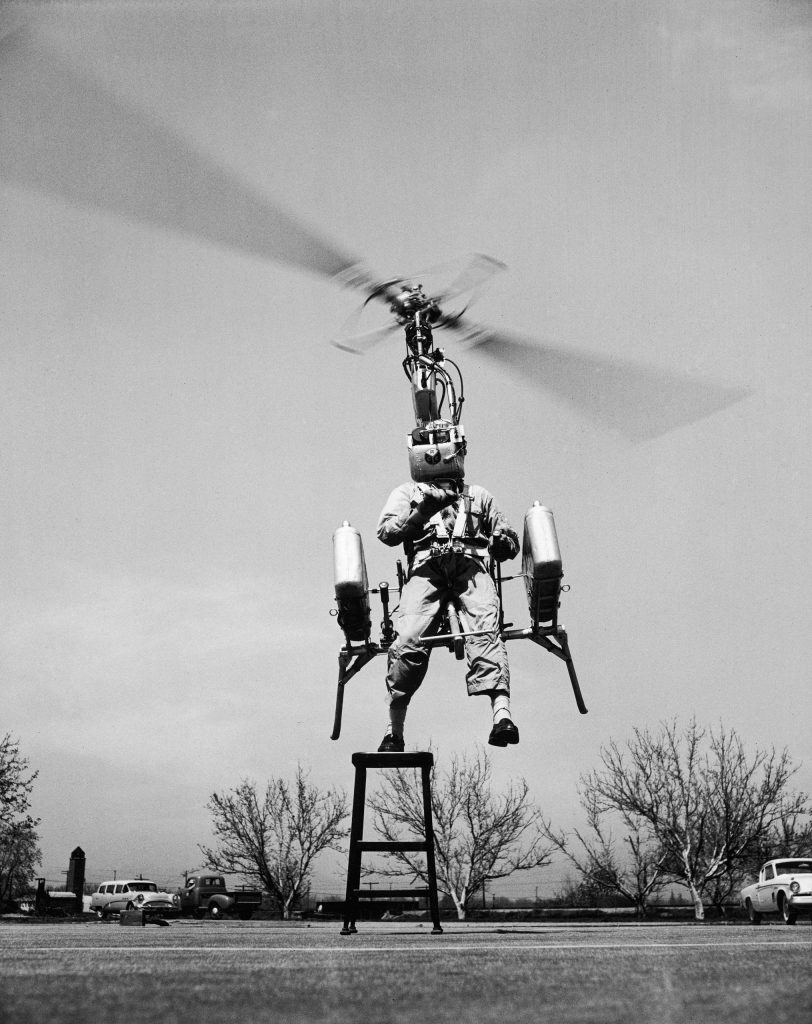 "Test flight of the ""strap-on"" helicopter, 1957."