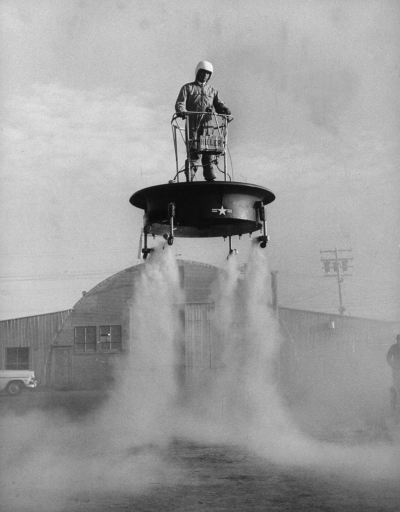 Flying platform being tested at an Air Force base, 1956.
