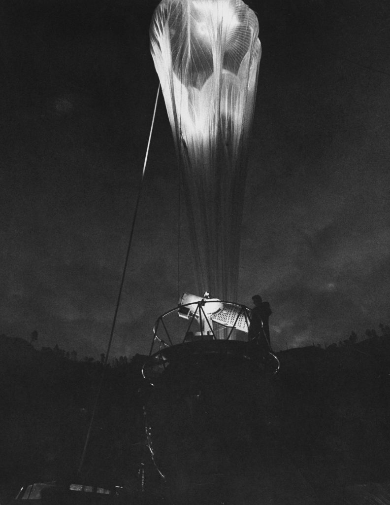 Balloon being inflated in preparation for high-altitude ascent, 1959.
