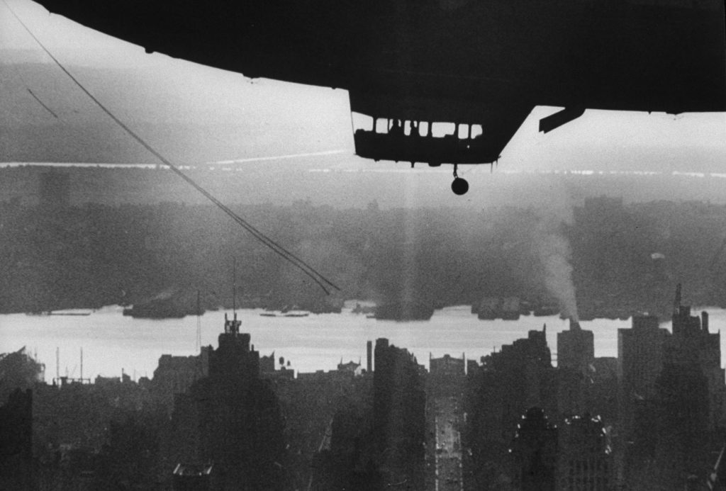 A blimp above New York, 1961.