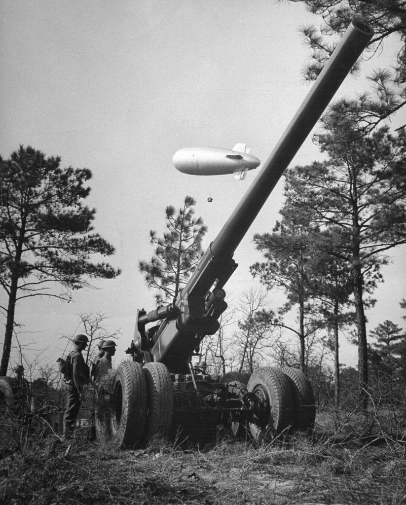 An observation balloon spotting for a 155mm gun at Fort Bragg, 1940.