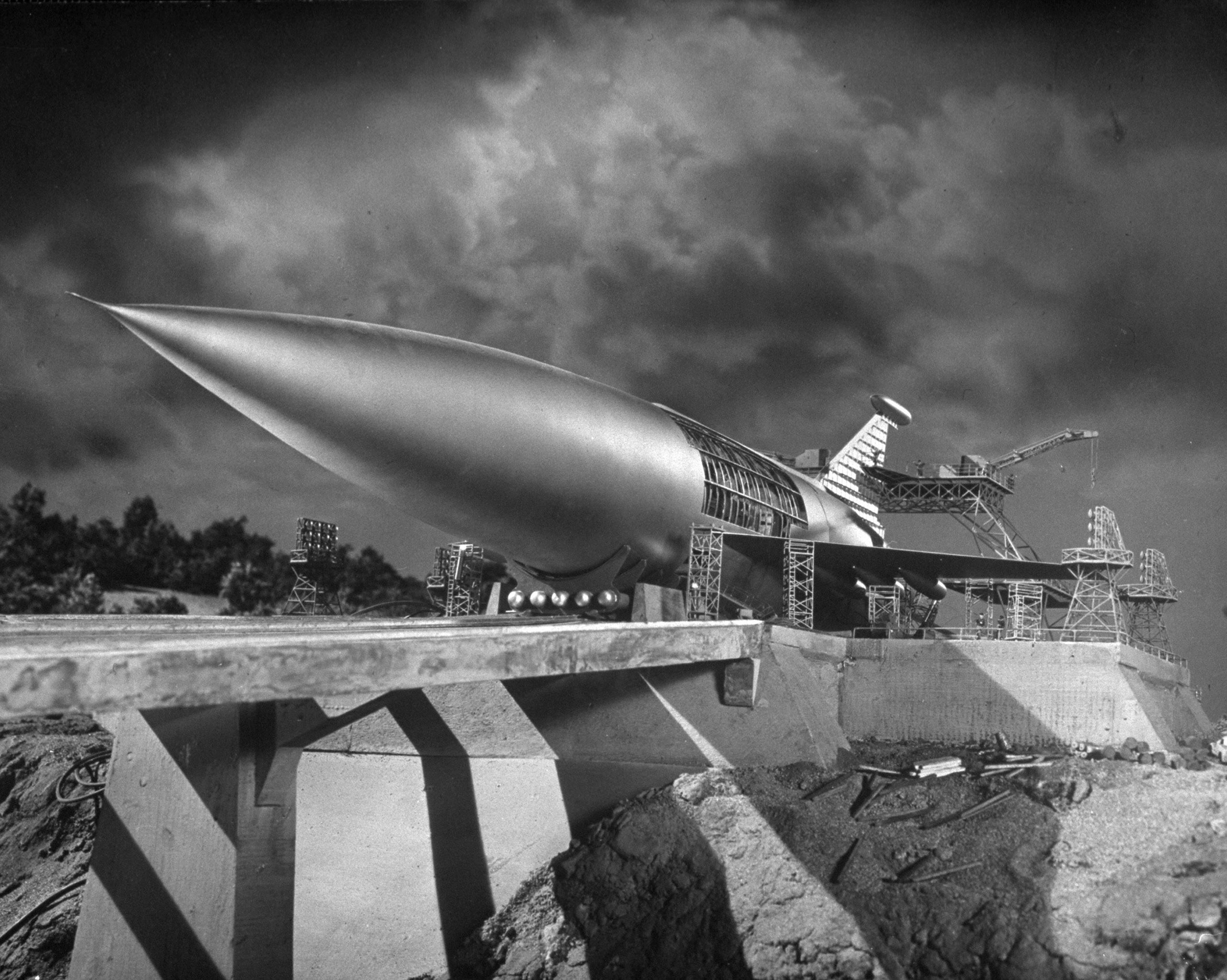 """Model of the """"Space Ark"""" rocket ship from the sci-fi classic, """"When Worlds Collide"""" 1951"""