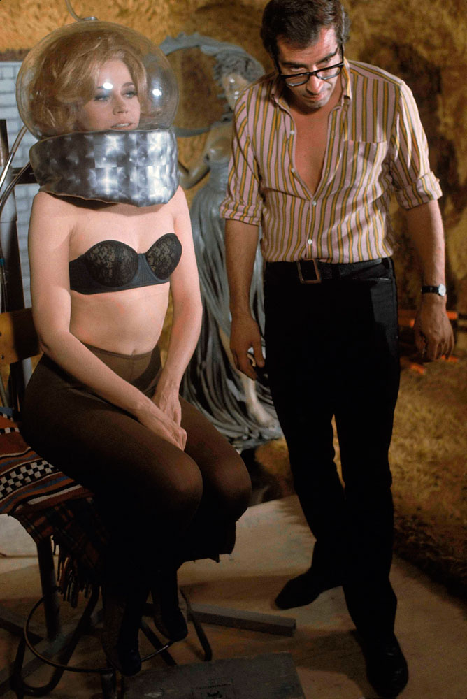 Jane Fonda and her husband, the director Roger Vadim, on the set of Barbarella, 1968.