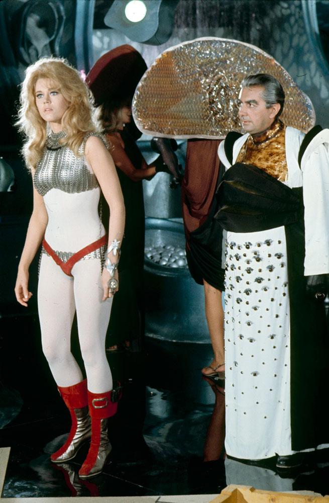 Jane Fonda and Milo O'Shea (as Durand-Durand) on the set of Barbarella, 1968.
