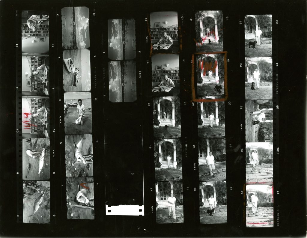 A contact sheet of Alfred Eisenstaedt's pictures of Ernest Hemingway in Cuba, August 1952.