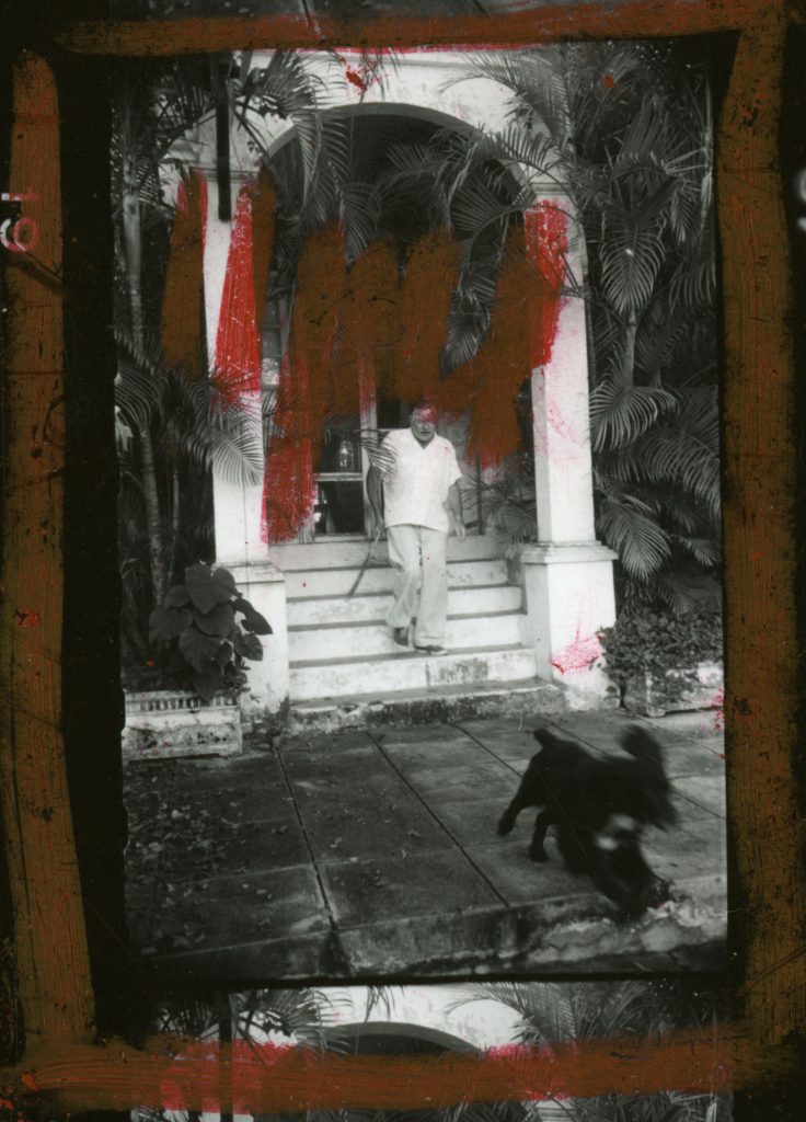 An image from a contact sheet of Alfred Eisenstaedt's pictures of Ernest Hemingway in Cuba, August 1952.