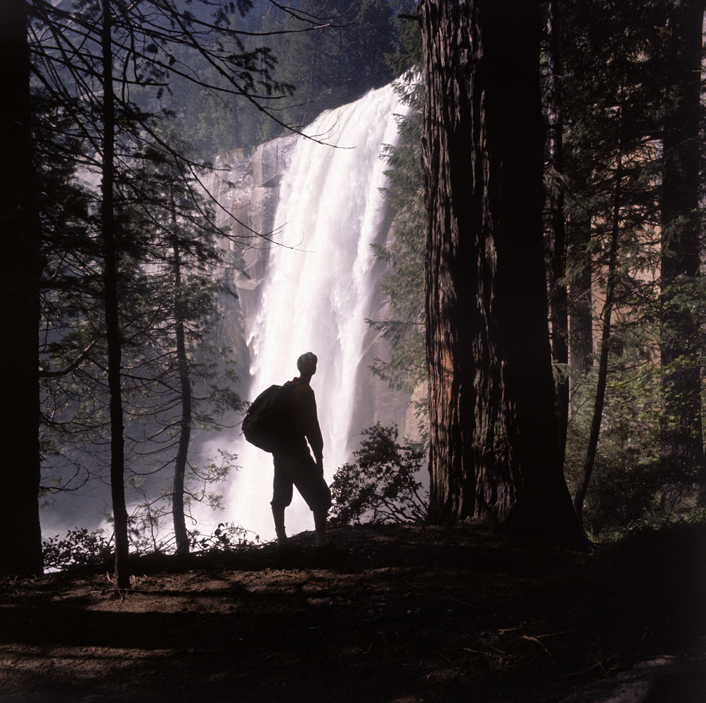 Hiker at Vernal Falls in Yosemite National Park, 1962.