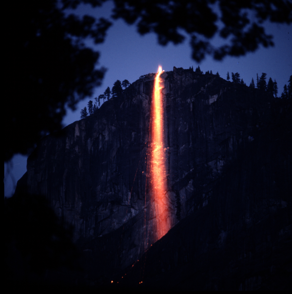 """Firefall"" -- burning hot embers spilled from the top of Glacier Point at Yosemite National Park -- was a nightly tourist attraction for years, until the Park Service ordered the owners of the Glacier Point Hotel to put a stop to the dramatic, but highly unnatural, proceedings."