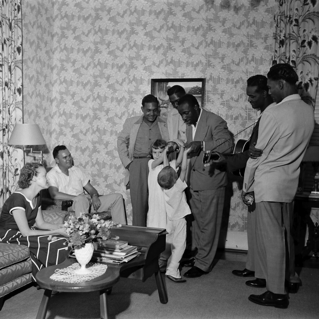 The Prisonaires perform at Tennessee State Penitentiary warden James Edwards' home, Nashville, Tenn., 1953.