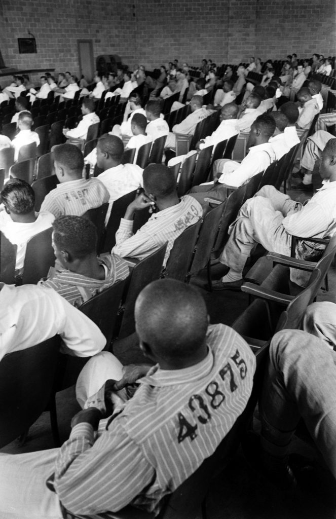 Prisoners at the Tennessee State Penitentiary auditorium, 1953.