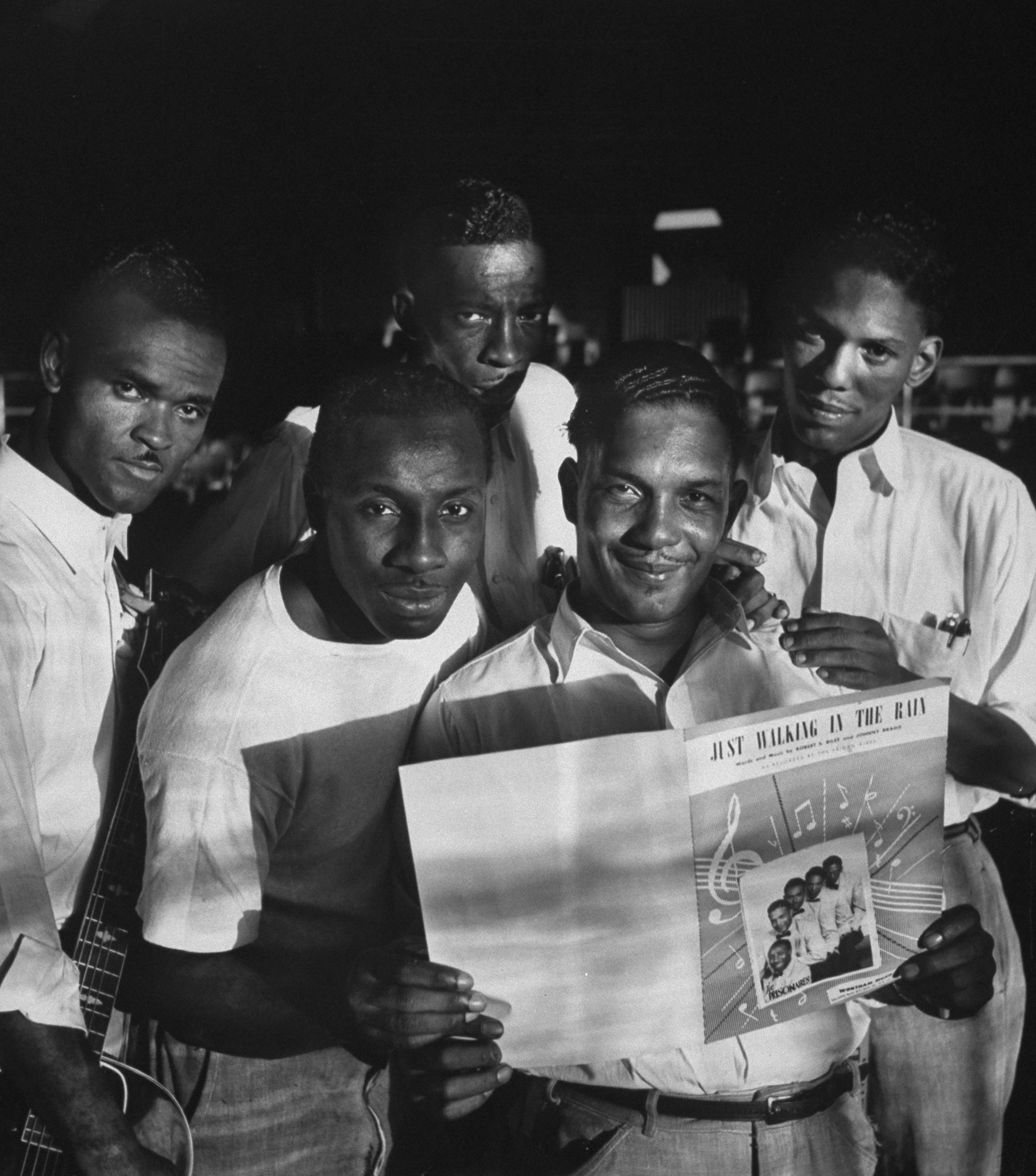 Members of the incarcerated musical group the Prisonaires with sheet music of their first hit song, Tennessee, 1953.