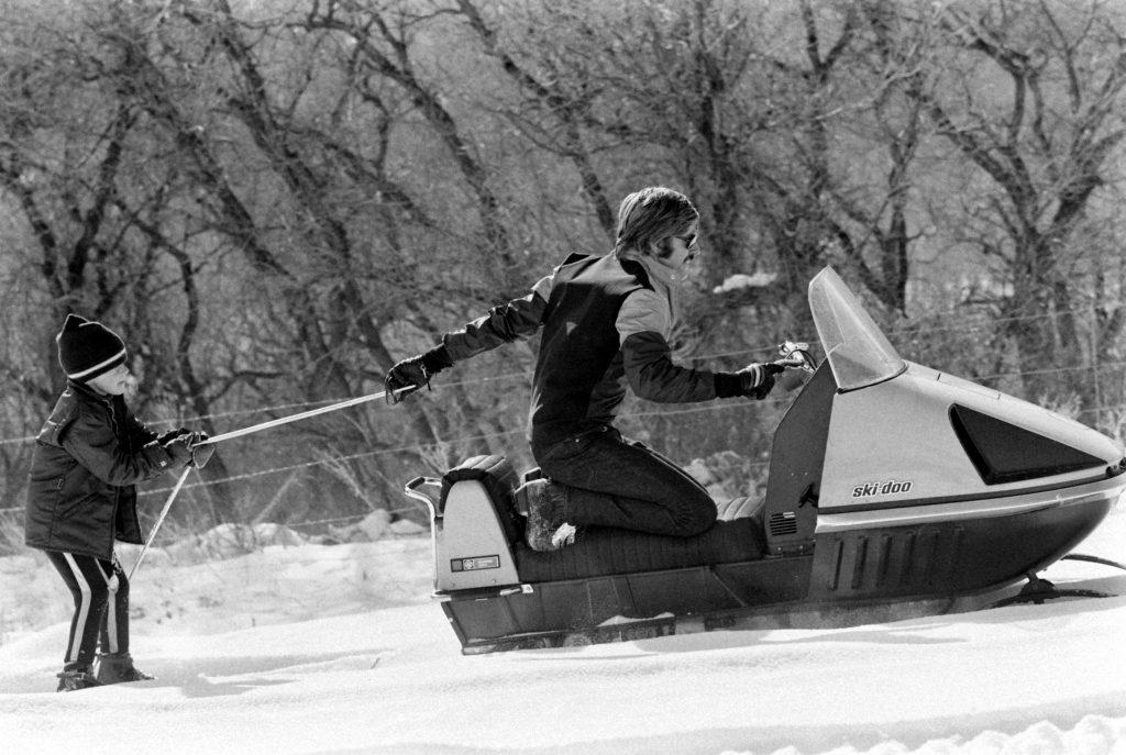 Robert Redford and son Jamie, Utah, 1969.