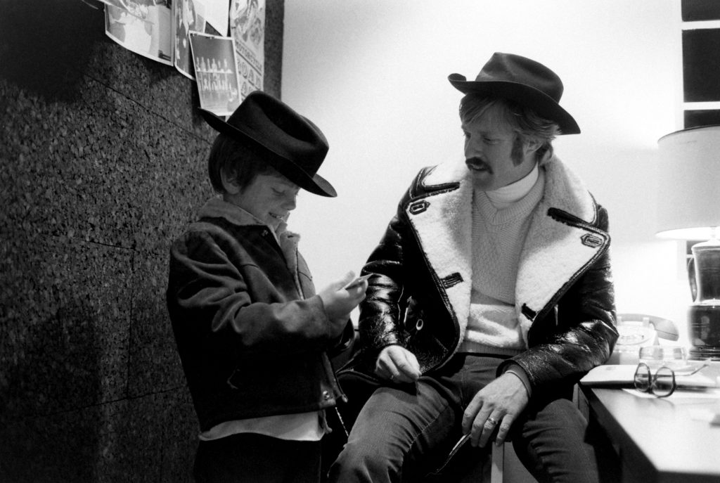 Robert Redford with his son, Jamie, in New York City, 1969.