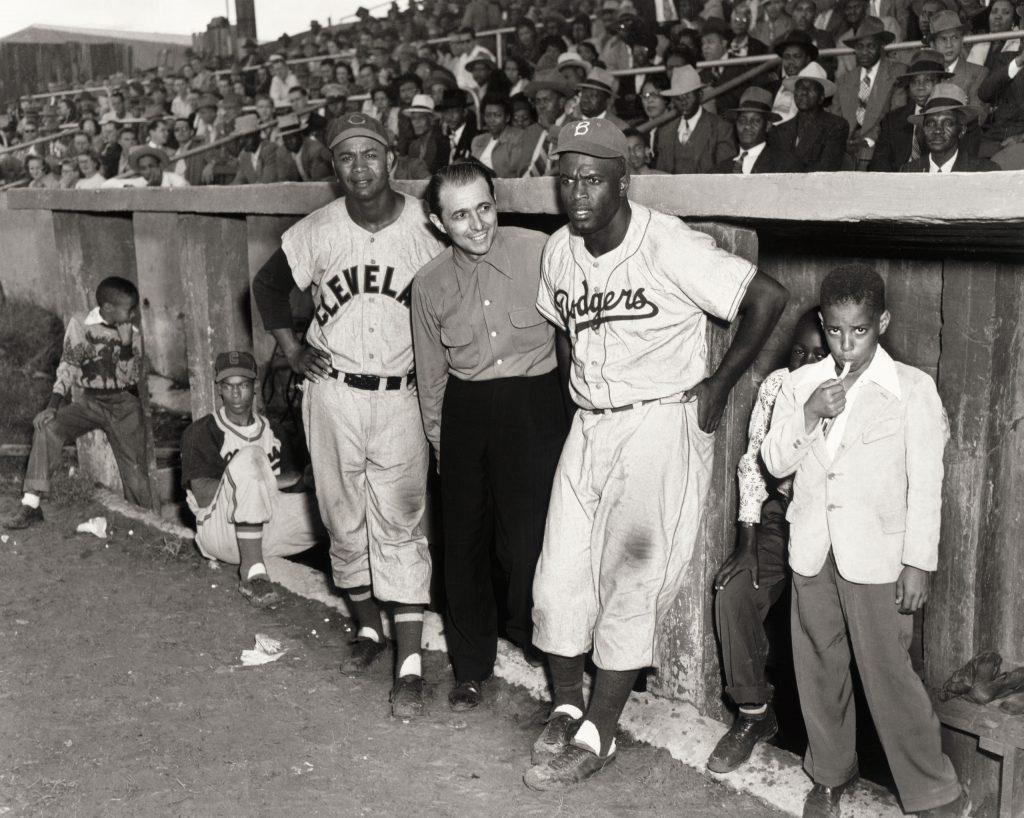 Ernie Banks, Larry Doby, Matty Brescia, Jackie Robinson, Martin's Stadium, Memphis, Tennessee, 1953