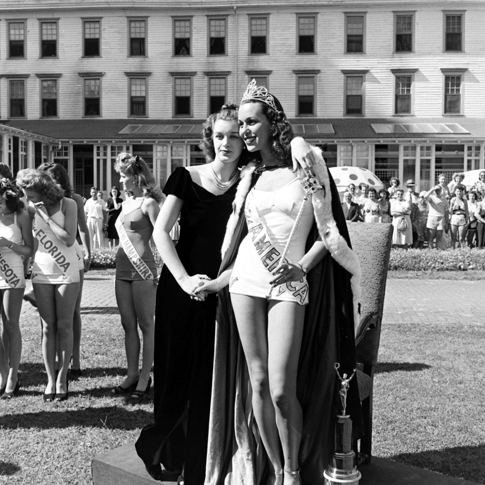 Miss America Bess Myerson (right) and friend, Atlantic City, New Jersey, September 1945.