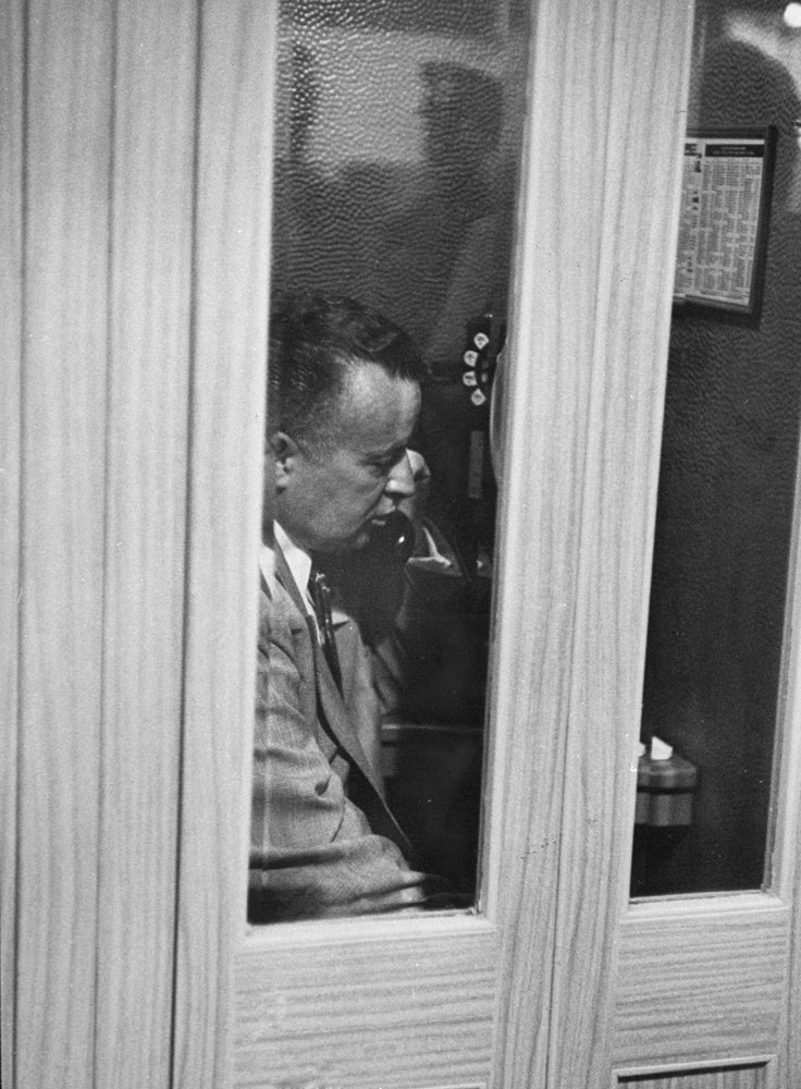 Chairman of the Republican National Committee Arthur E. Summerfield on the telephone during the 1952 GOP National Convention in Chicago.