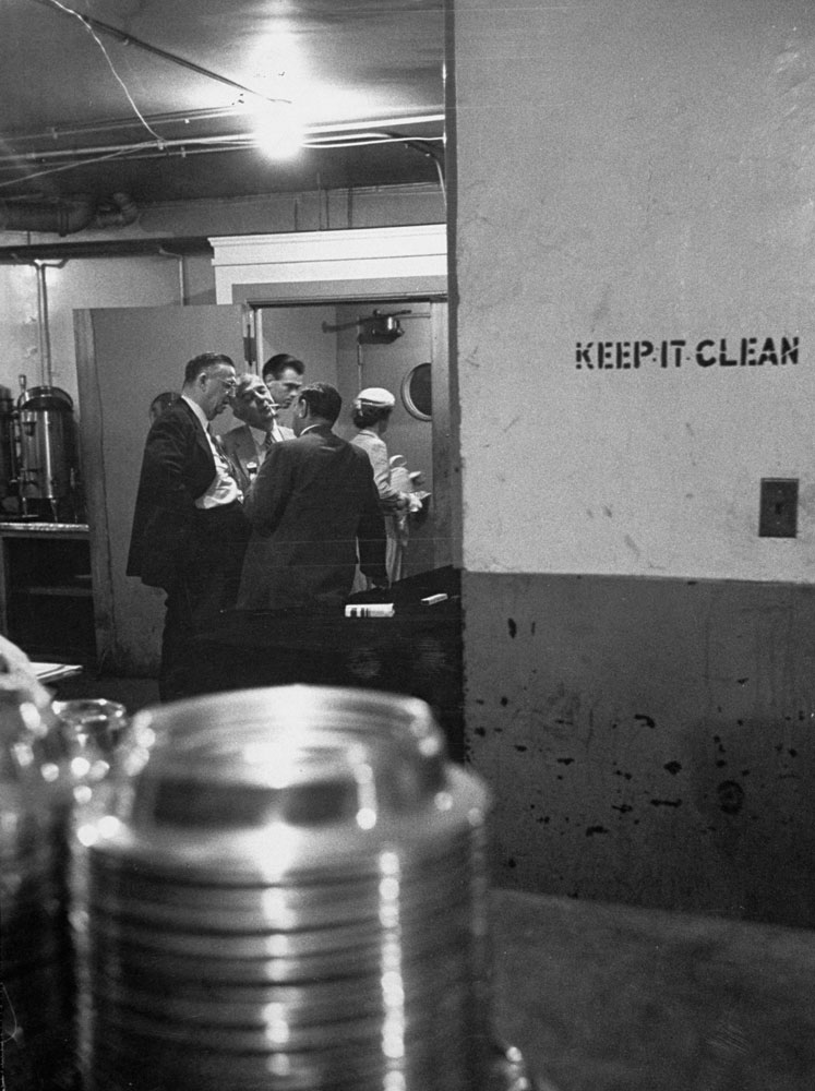 Republicans hold an informal conference in a kitchen during the 1952 GOP National Convention in Chicago.