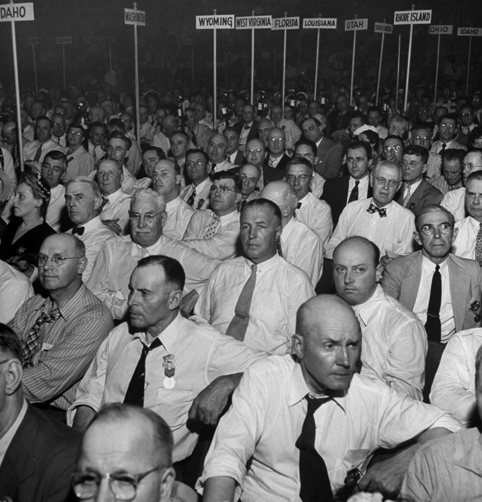 Delegates listen to Herbert Hoover during the 1944 Republican National Convention in Chicago.