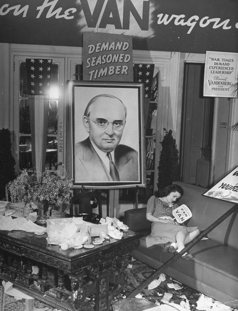 "A young Republican rests on a sofa in the Hotel Adelphi during the 1940 GOP National Convention in Philadelphia. (""Van"" is Sen. Arthur Vandenberg of Michigan, long considered a front-runner for the GOP nomination; instead, the Republicans nominated Indiana's Wendell Willkie, who lost the election to the Democratic incumbent, FDR.)"
