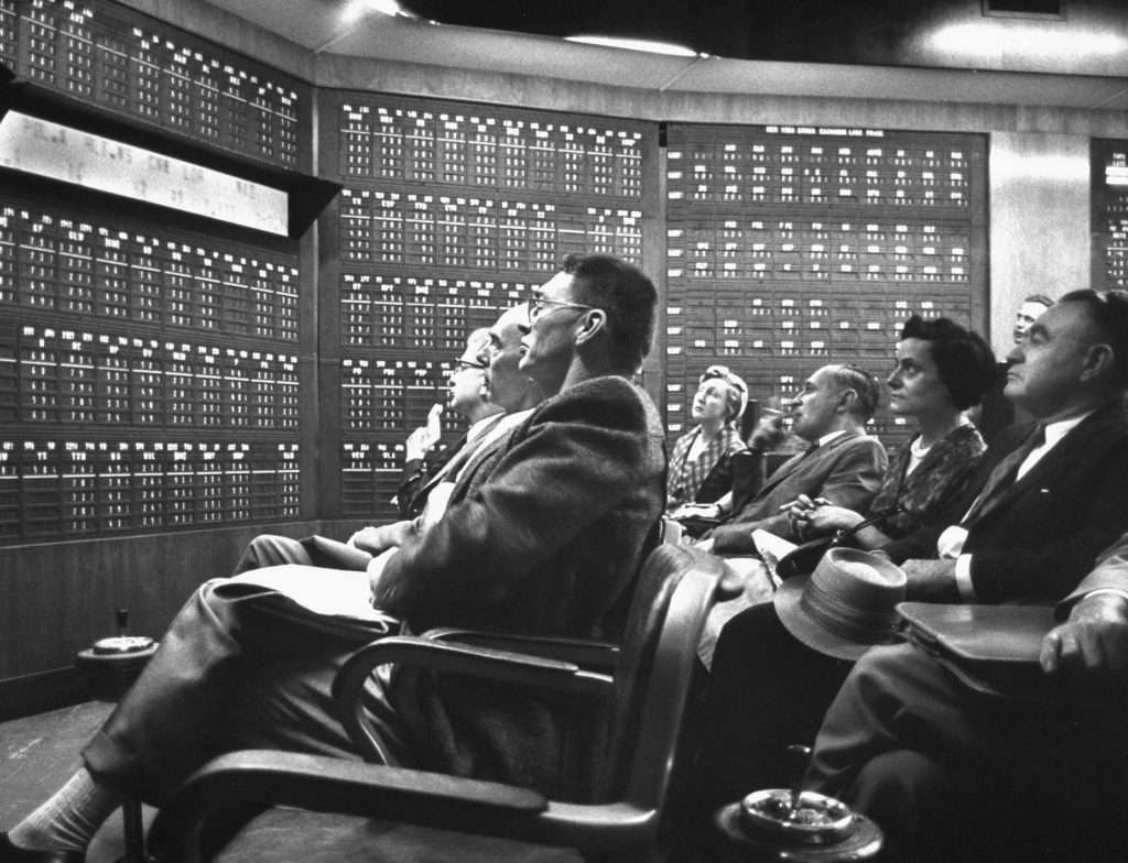 """Not originally published in LIFE. Tense scene at a brokerage office during the 1962 stock market """"flash crash."""""""