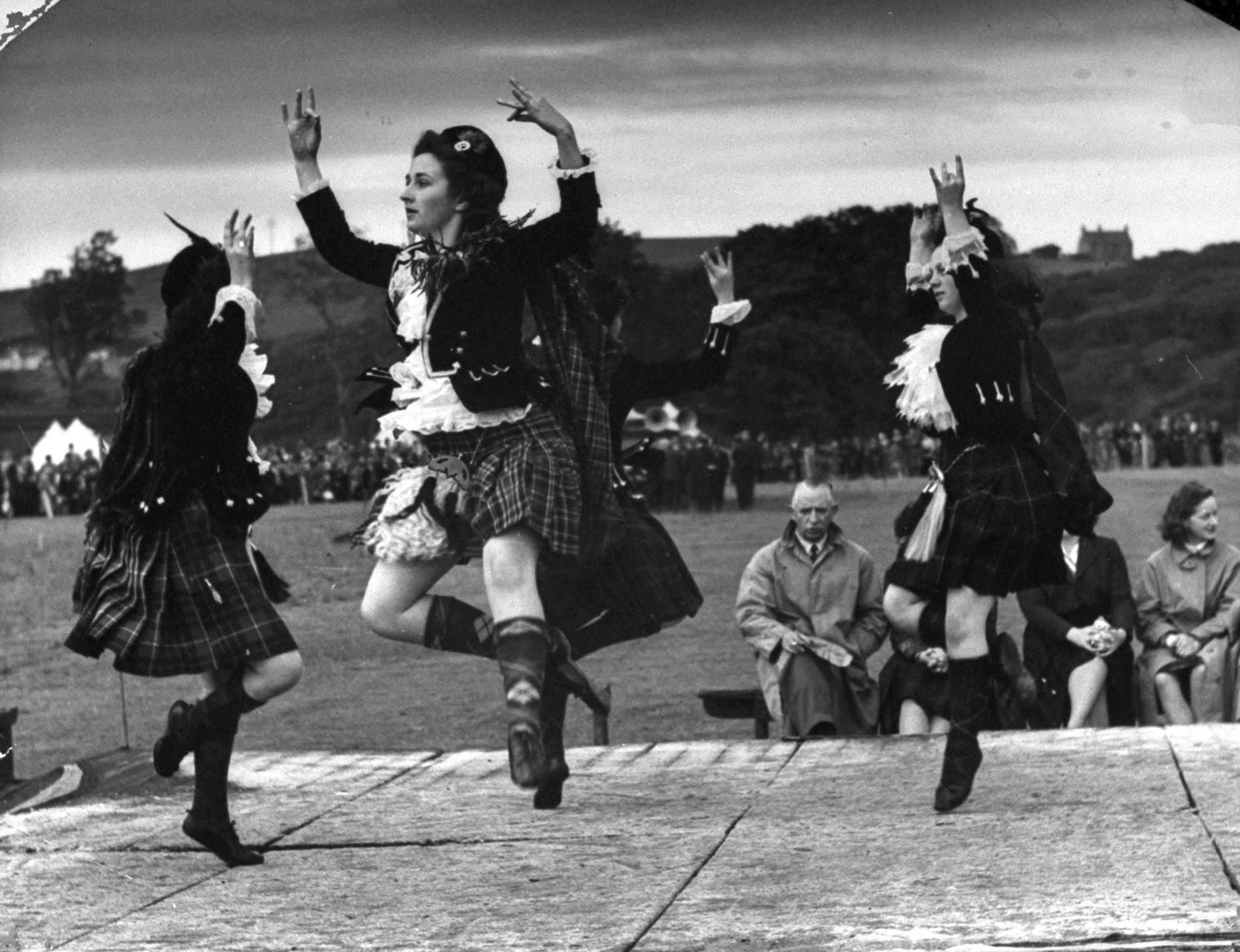Competitors for the world championship, dancing the Reel of Tulloch, Scotland 1947.