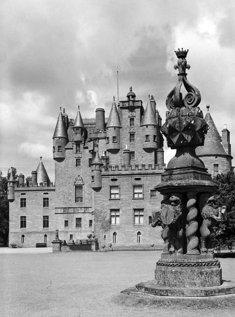 Glamis Castle, first built in the 11th century, where Macbeth supposedly murdered Duncan, housed the 23rd Baron Glamis.