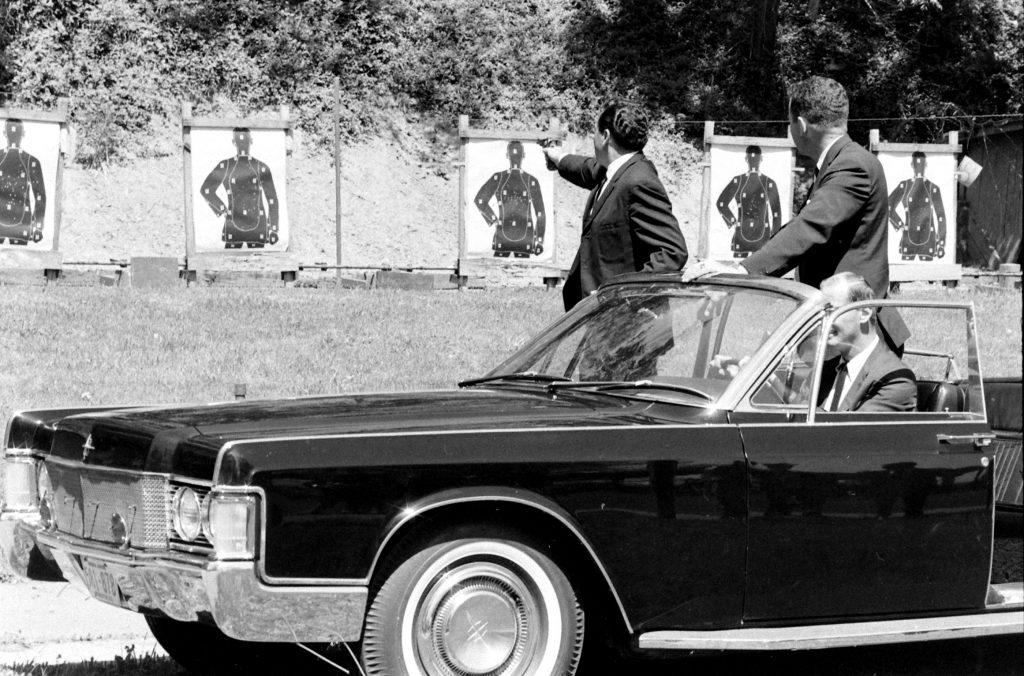 The White House detail taking their monthly qualification tests, May 1968.
