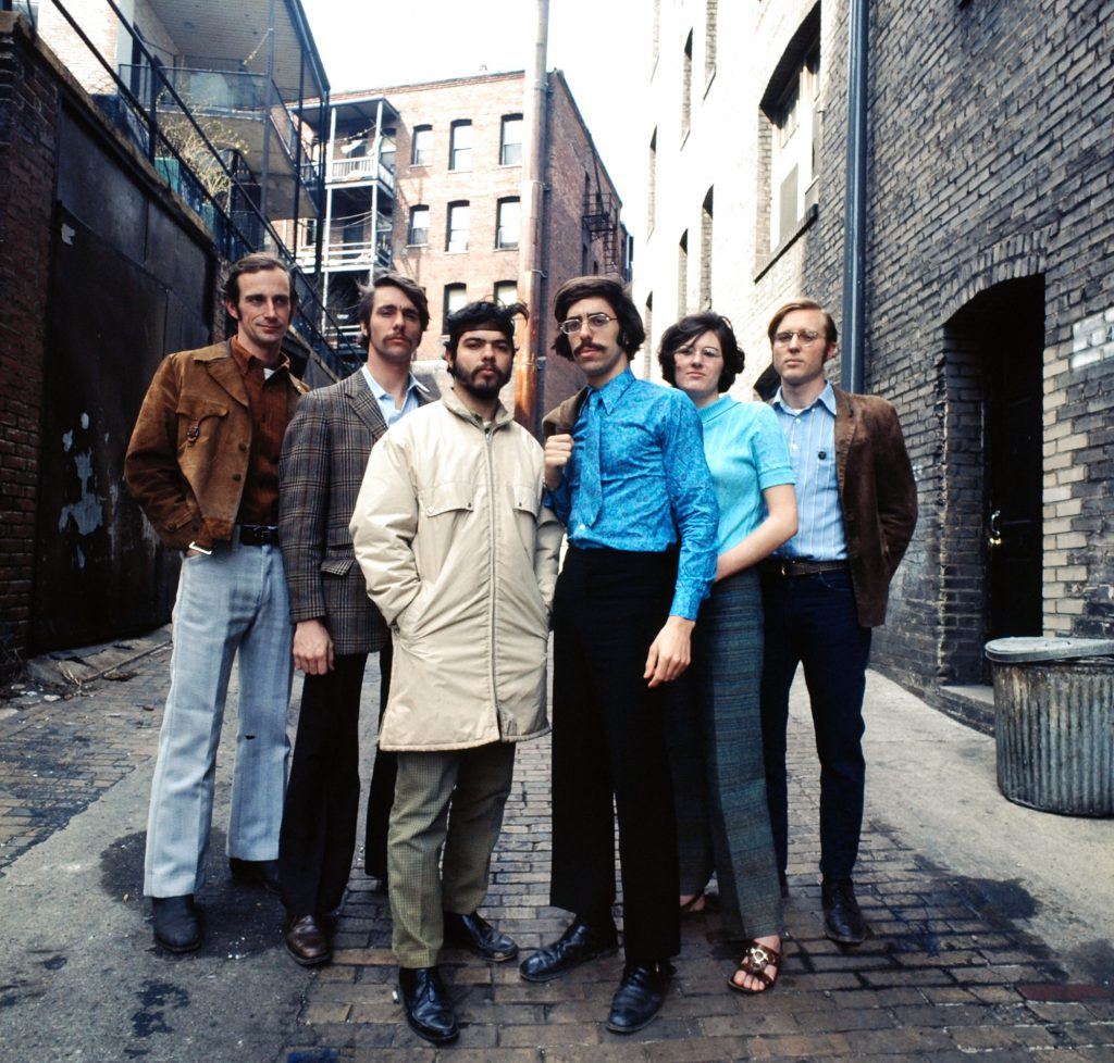 In a Washington D. C. ghetto, key Earth Day staffers (from left) Denis Hayes, Andrew Garling, Arturo Sandoval, Stephen Cotton, Barbara Reid and Bryce Hamilton gather for a group portrait.