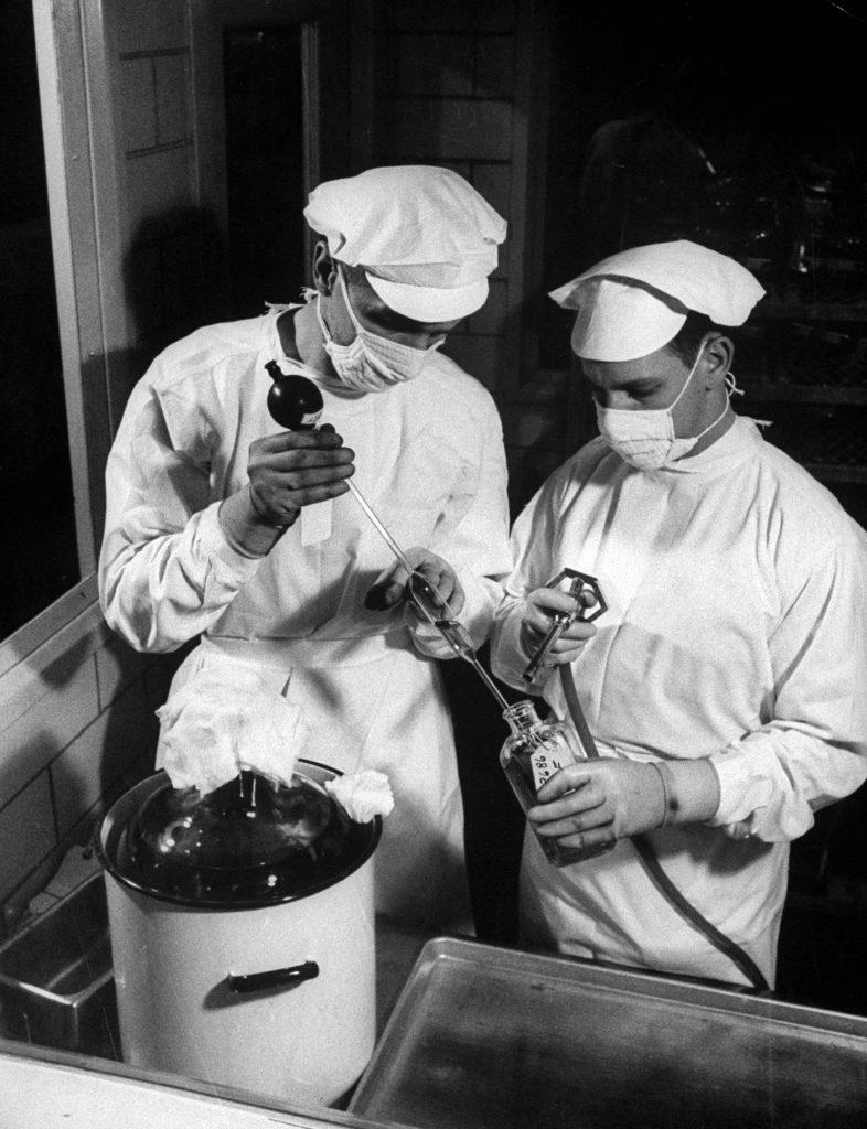 Polio vaccine production, 1955.
