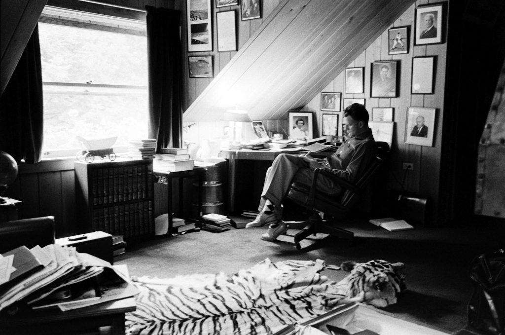 Billy Graham in his home office, N. Carolina, 1955.