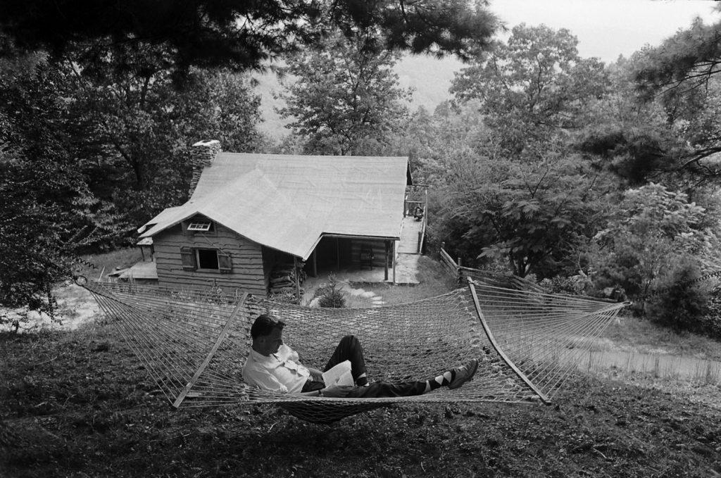 Billy Graham at home in North Carolina, 1955.