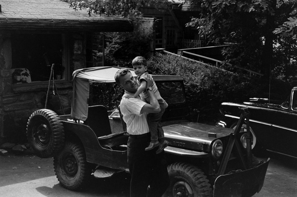 Billy Graham with his son, Franklin, in 1955.