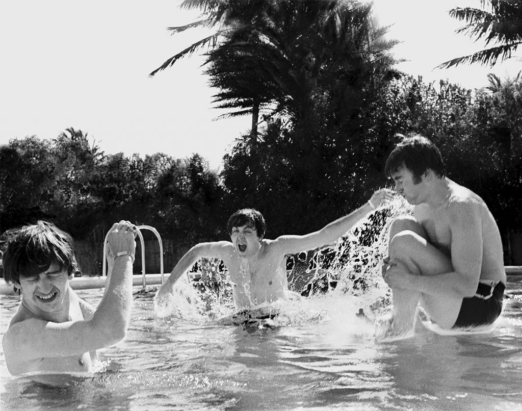 Beatles cavorting in Miami pool, February, 1964.