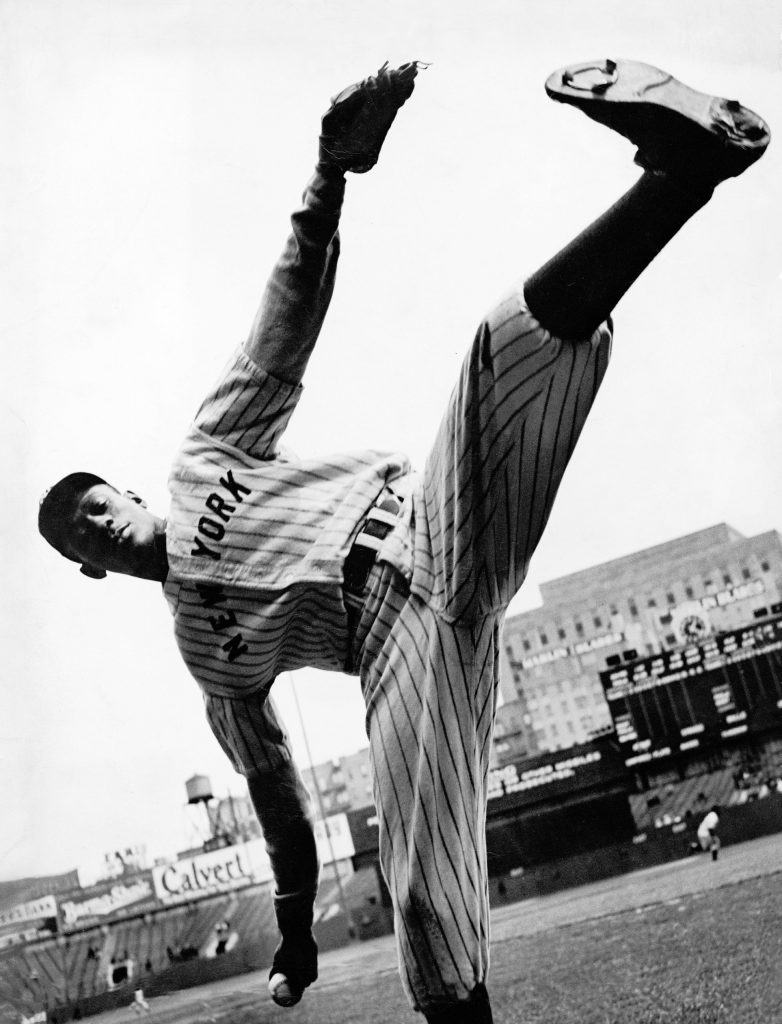Satchel rears way back before he lets go rest pitch, the cannonball.