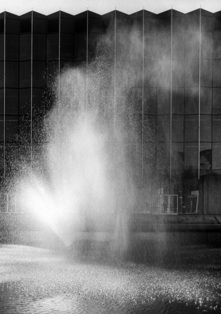 Fountain in front of new Law Library designed by Eerro Saarinen, 1961.