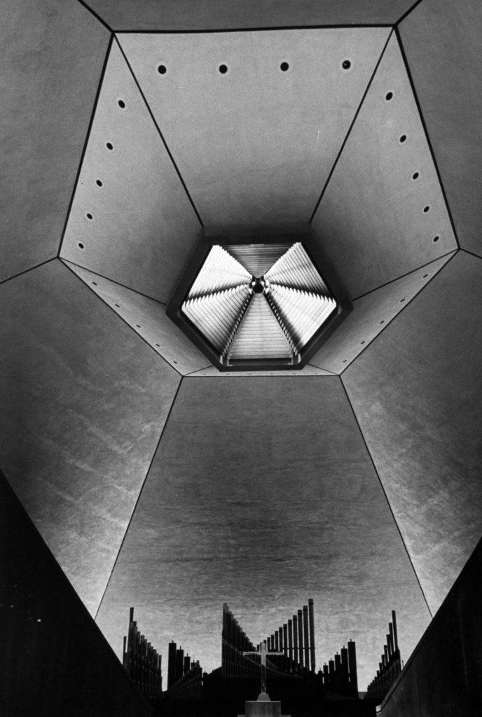 Interior of North Christian Church designed by Eero Saarinen, 1967.